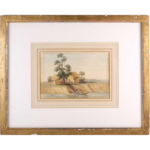 48 - Late 19th century school, a landscape view with a boat on a river and figures, probably the Nile, un...