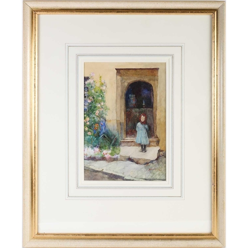 20 - David Woodlock (1842-1929) British, a young girl in a blue dress, standing in a doorway, watercolour...