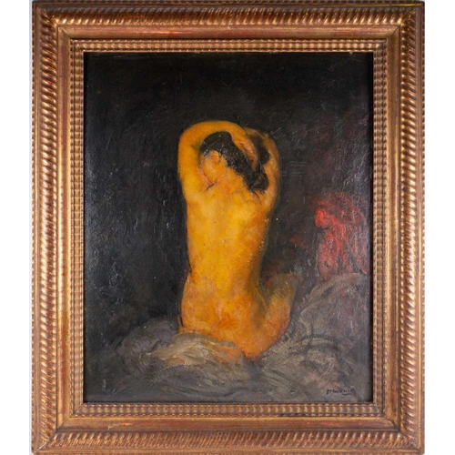 51 - 19th century school, stidy of a nude female, oil on panel, indistinctly signed, 64 cm x 52 cm in a g...