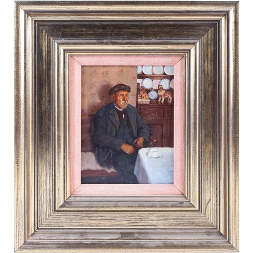 24 - † Ken Moroney (1949-2018) British, 'Old Man, Interior', oil on board, signed and dated 1977, 17.7 cm...