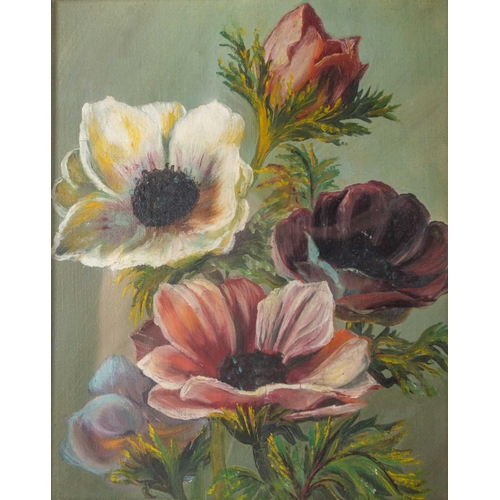 35 - 19th English school, a pair of floral studies, oil on canvas, unsigned, mounted in gilt moulded fram...