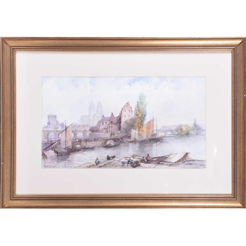 37 - Paul Marney (1829-1914) British, 'Tours', watercolour, signed to lower left corner, 33 cm x 58 cm fr...