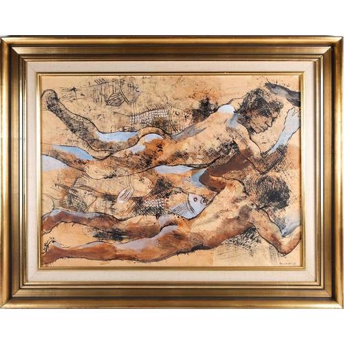 38 - Donald Suart Leslie Friend (1915-1989) Australian, an abstract study of two boys swimming amongst fi...
