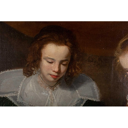 6 - 18th century school, a portrait study of two young children reading a book, oil on canvas, 45 cm x 6...