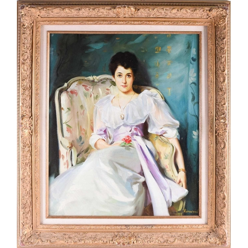 49 - 20th century English school, a portrait of a seated lady, signed 'Kenwood', oil on canvas, 59 cm x 4...