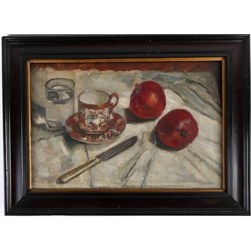 52 - Late 19th century school, a still life study of fruit, glass of water, chinoiserie coffee can and sa...