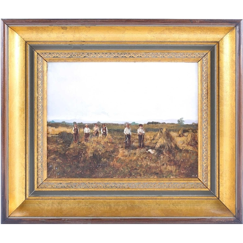 58 - † Ken Moroney (1949-2018) British, 'Farm Workers', oil on canvas, signed, 16.7 cm x 21.5 cm in a gil...