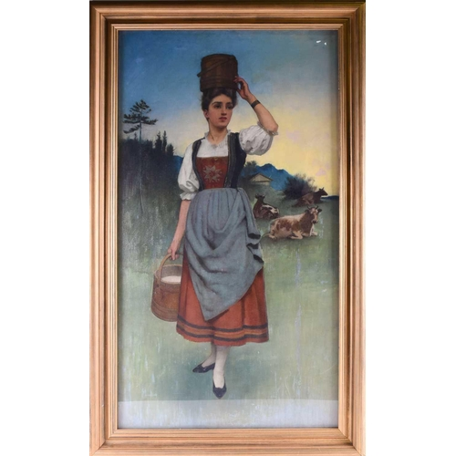 8 - 20th century Continental school, a full length portrait of a milkmaid, in traditional rural dress an...
