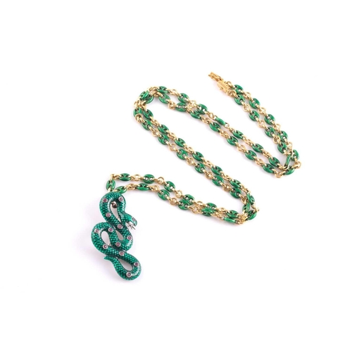 1 - An 18ct yellow gold Continental anchor-link chain, alternated with plain and green enamel links, sus...