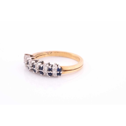 2 - A sapphire and diamond half hoop ring; the round brilliant cut diamonds and circular cut sapphires s...
