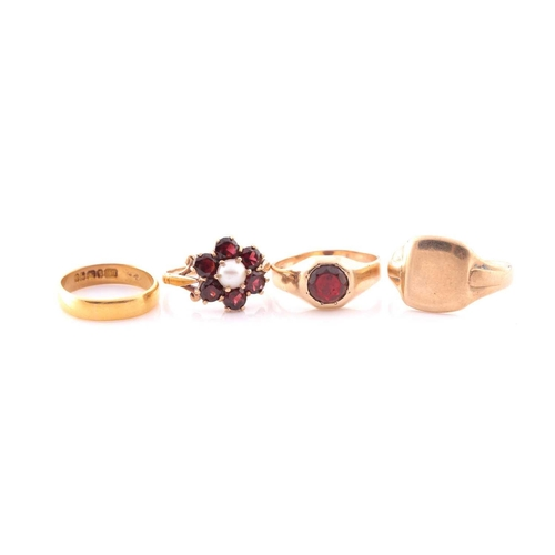 43 - A 9ct yellow gold, garnet, and pearl floral cluster ring, size M, together with a 9ct yellow gold an...