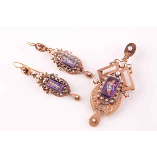 45 - A late 19th century yellow gold French pendant, centred with amethyst glass, polychrome painted with...