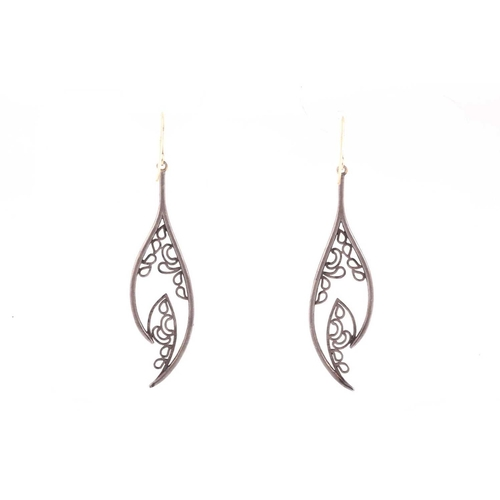 53 - A pair of diamond drop earrings, the silvered openwork mounts inset with mixed old and rose-cut diam...