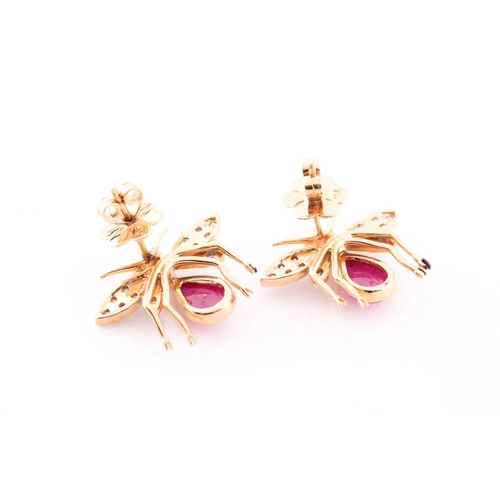59 - A pair of yellow metal, diamond, and ruby earrings in the form of bees, each bee with a diamond-set ...
