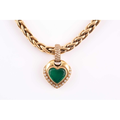 60 - An 18ct yellow gold, diamond, and green stone heart-shaped pendant, with pave-set diamond suspension...