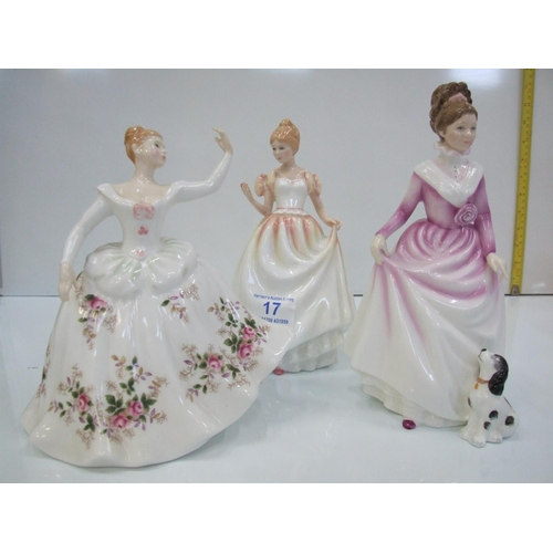 17 - 3 Royal doulton figures good companion,shirley gift of love...