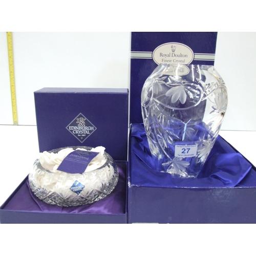 27 - Boxed cut glass tall vase,Boxed Edinburgh crystal vase...