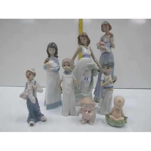 33 - 5 Nao by Lladro figures + 3 others...