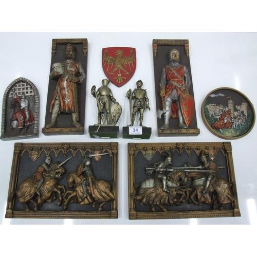 34 - Quantity Knight plaques...
