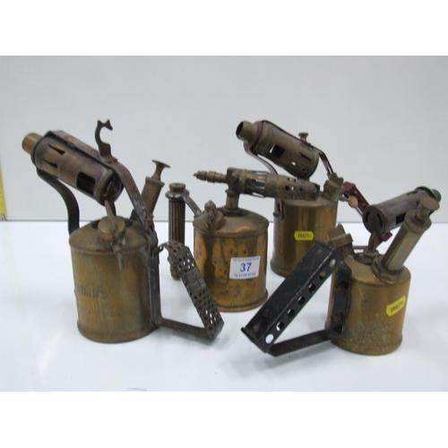 37 - 4 brass blow lamps...