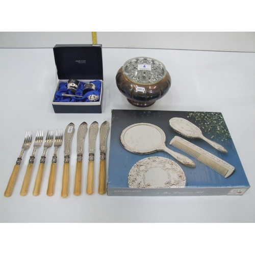 4 - 4 items silverplate dressing table set,bowl,christening gift set,cutlery...