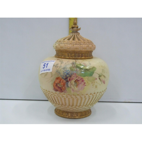 51 - Royal worchester temple jar A/F...