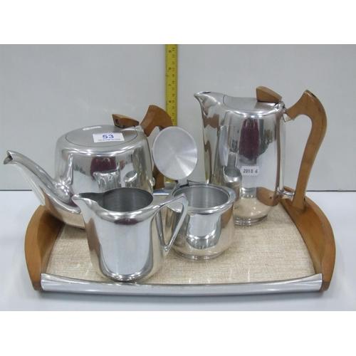 53 - 5 piece Picquot ware tea/coffee set on tray...
