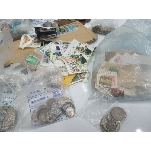 59 - Large box of coins and stamps...