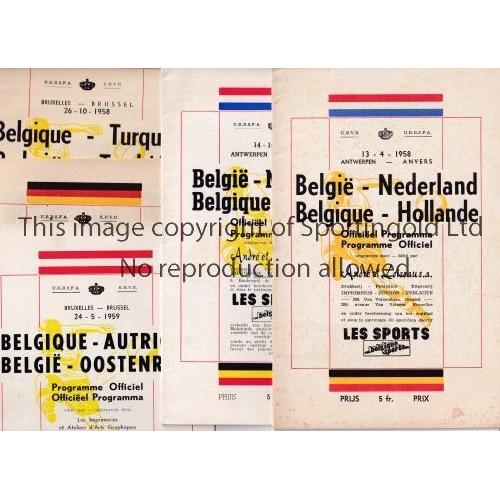 28 - BELGIUM INTERNATIONAL PROGRAMMES       Five home programmes v. Holland 14/10/1956 and 13/4/1958 both...