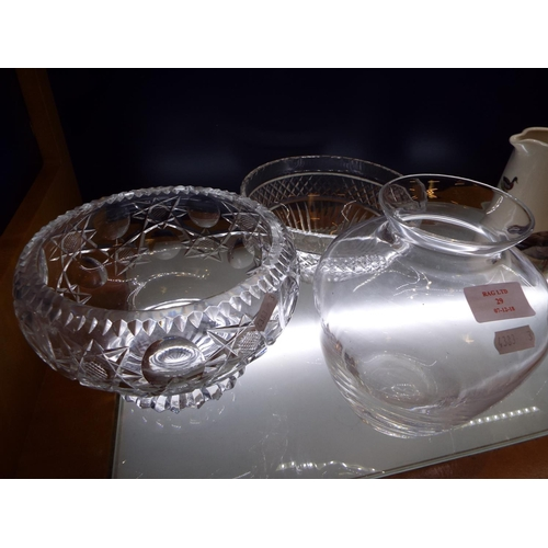 29 - Two cut glass fruit bowls and a Dartington glass vase...
