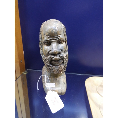 36 - A hand carved soapstone bust of an African Tribesman...