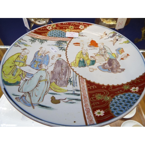40 - A Japanese Imari plate with pictorial panels of elders...