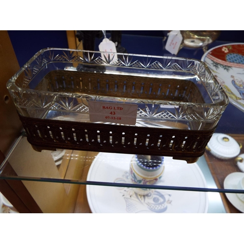 43 - A French Empire glass and gilt brass table dish with swag decoration...