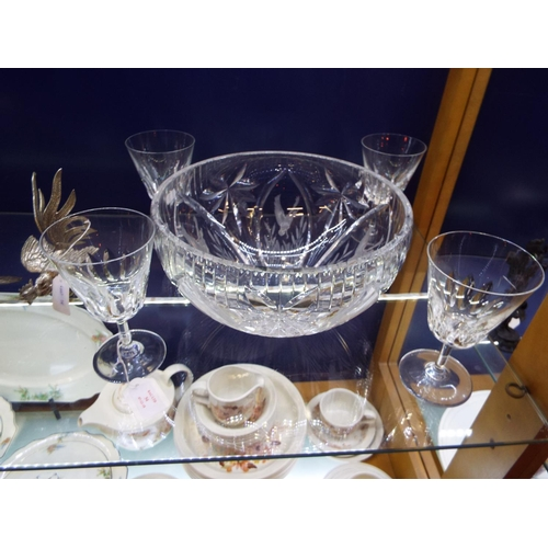 54 - A set of four Baccarat crystal wine glasses acid etched marks to base together with a Webb Corbett c...