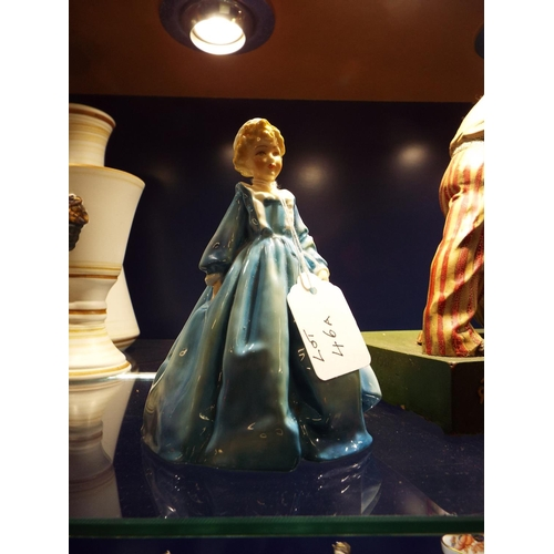 46A - A Royal Worcester figure 'Grandmothers Dress' in dark blue modelled by F. G. Doughty...