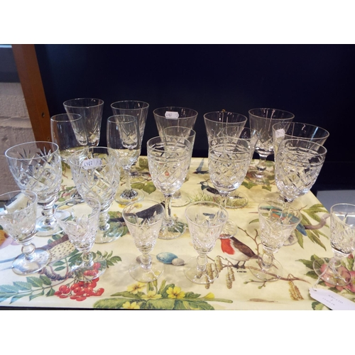 1 - A mixed selection of cut crystal and glass, wine, sherry and liqueur glasses...