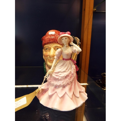 12 - A Royal Worcester figure 'Jennifer' together with a Royal Doulton character jug 'Lumberjack' D6610...