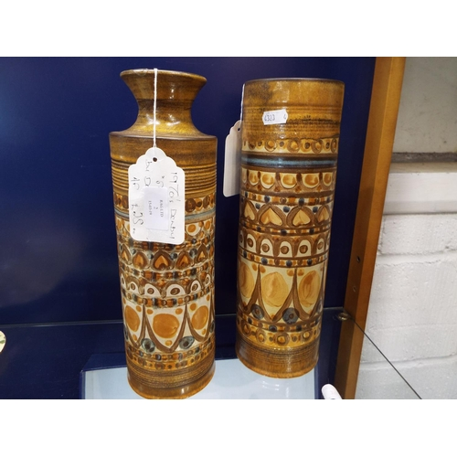 2 - Two 1970's Denby minaret vases with stylized decoration by David Yorath one A/F...