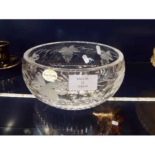 23 - A Royal Brierley cut crystal fruit bowl wheel engraved with grapes and vines, still with original la...