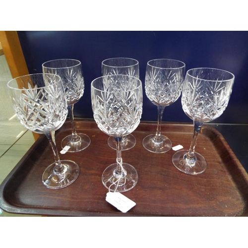 3 - A set of six glass lead crystal wine glasses...