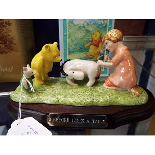 47 - A boxed limited edition Royal Doulton Winnie The Pooh figurine 'Eeyore Loses A Tail', No 231/5000 co...
