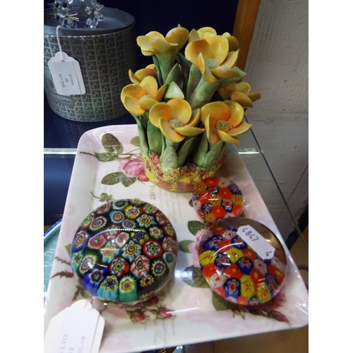 51 - Three Millefiori glass paperweights and a Wade flower ornament stamped No 48 to base...