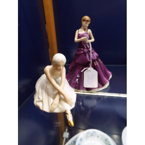 56 - A Royal Doulton figurine flower of the month 'September After Symbol of Love' and a 'Seated Ballerin...