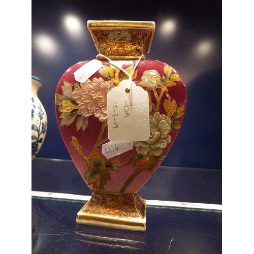 20A - A Victorian heart-shaped vase hand enamelled with chrysanthemums...