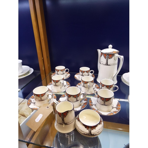 11 - A Crown Ducal coffee set No.711270/1 decorated with an orange tree pattern to include cups, saucers,...