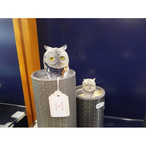 54 - Two boxed Swarovski 'Owls' to include large and medium figures, both with cut crystal coloured eyes...