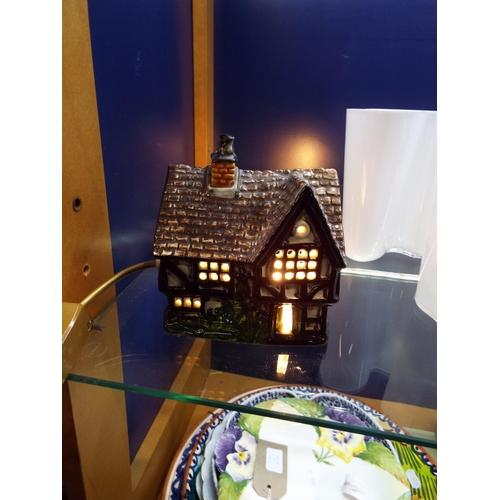 25 - A Derek Fowl ceramic lamp house, in working order...