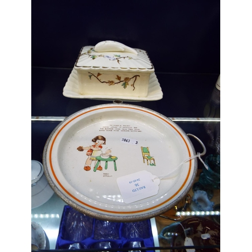 36 - A Mabel Lucie Attwell warming plate and a sardine dish...