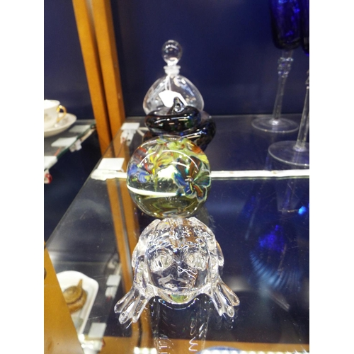 47 - A Waterford crystal glass frog signed, perfume bottle and two glass paper weights...