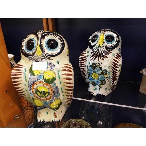 5 - A pair of hand-painted folk art owls signed 'Cat Tonala Mexico 2'...
